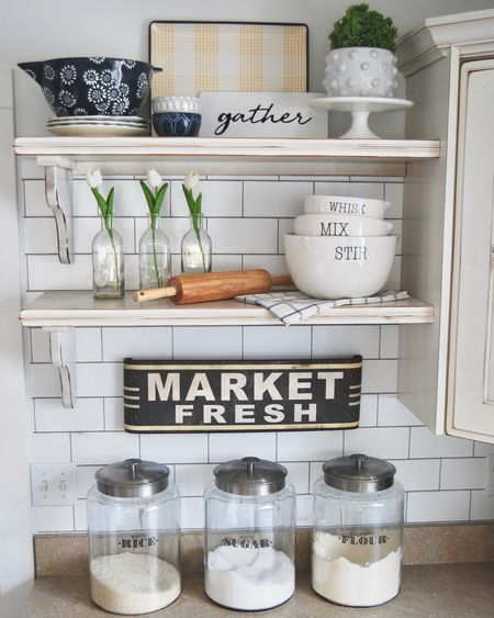 Spring is in the Air! In my kitchen I couldn't wait any longer to break out my fun baking dishes in the soft blues and yellows! I added spring tulips to make it feel fresh and new!  The decor on these shelves should carry me through summer. Love decorating with things I never tire of!   Shop these shelves SUPER easy with the @liketoknow.it App. Download the App, take a Screen shot of this picture and all the info you need will appear.  Looking Forward to Spring! 🌷 . .  #liketkit #LTKunder100 #LTKhome #LTKspring @liketoknow.it.home @liketoknow.it.family http://liketk.it/2KYUv