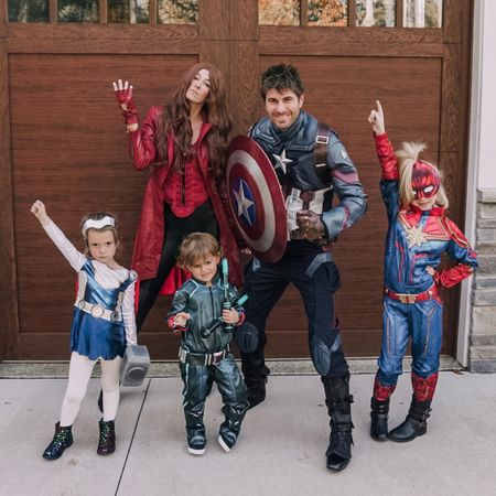 Avengers, assemble!  Alternatively titled: that time David had America's ass 😉😏  Halloween 2019 was one of my favorite family Halloween costumes we have EVER done.  And now, the real question: who's your favorite Avenger??  #LTKfamily