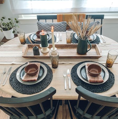Warm fall tones, dining table scape, fall decor, dinnerware   The weather this weekend is crisp and cool and if I wasn't ready for fall already, I'm all in now, baby!  #LTKSeasonal #LTKhome #LTKunder50