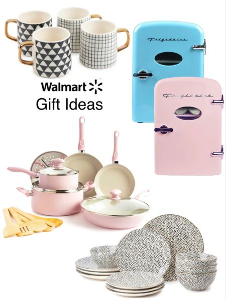 Holiday gift ideas for the kitchen @walmart. #ad  Dotted 12 piece dinnerware set- more colors $49.96- love mine. 6 can mini fridge perfect for kids room, dorm room, or face creams etc.  4 pack stoneware mugs- gold & black. 14 piece nonstick cookware comes in pink and teal. #walmarthome Gift guide for the home Gift guide under $100 Holiday table   #LTKGiftGuide #LTKhome #LTKunder100