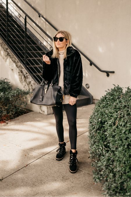 Zip up faux fur jacket and leather leggings and boots 🖤🖤🖤  #LTKSeasonal #LTKshoecrush #LTKunder100