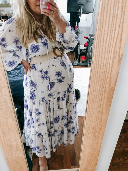 Wore this Free People dress for my nieces baptism today. Wearing a size small (xs is my normal size in FP) so that there's plenty of room for bump! Belt is old from Red Dress but I'll link a similar one for you.   PS I found my dress on sale with code FRIEND good through 5/2/21. I'm also linking it on one more site in case it sells out in your size.    #LTKbump #LTKsalealert #LTKSeasonal
