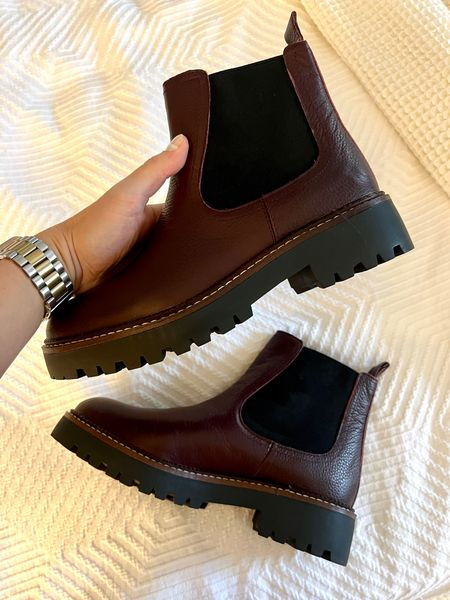 Burgundy lug boots! And they're waterproof. Also come in black.   #LTKSeasonal #LTKshoecrush #LTKstyletip