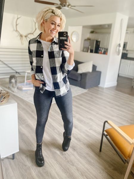 Sunday Fall #ootd Old Navy Plaid (XS) & jeans (size 4)are both 30% off! White long sleeve tee (small) is under $15 @amazon And these platform combat boots are some of my faves as well!     #LTKunder50 #LTKsalealert #LTKstyletip