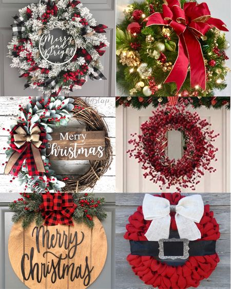 Holiday home decor is here! I love these different front door wreaths. Many under $50.   #LTKSeasonal #LTKHoliday #LTKhome
