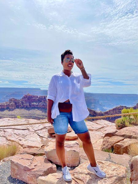 Casual summer style in white oversized linen shirt denim Bermuda shorts white sneakers   #LTKstyletip