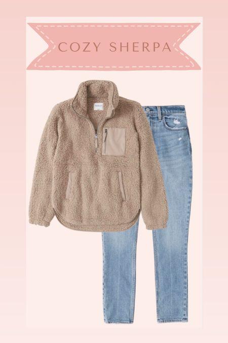 Sherpa pullover and jeans from Abercrombie on sale  #LTKstyletip #LTKsalealert #LTKSale