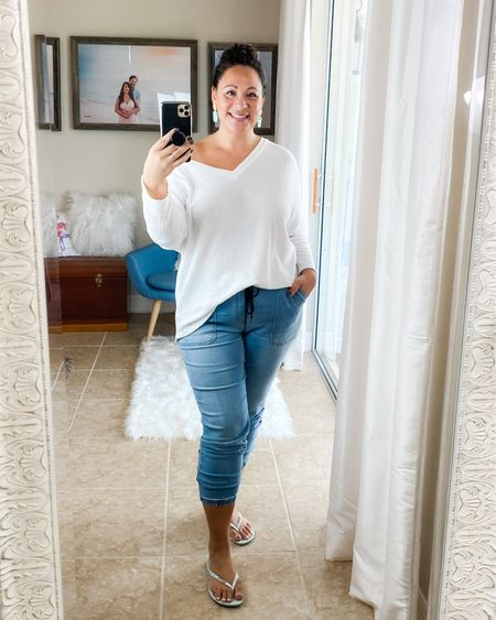 Off the shoulder waffle knit tee, I'm wearing XL for oversized fit. Jean joggers, I'm wearing L, limited sizes available. Earrings are from @studiofika , flip flops are Ipanema. http://liketk.it/2TxOy #liketkit @liketoknow.it