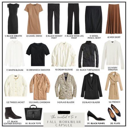 Fall Workwear Capsule Collection - Row 1  Black sheath dress, work dress, black pants, black flares, pencil skirt, midi skirt, satin silk skirt  #LTKworkwear #LTKcurves #LTKstyletip
