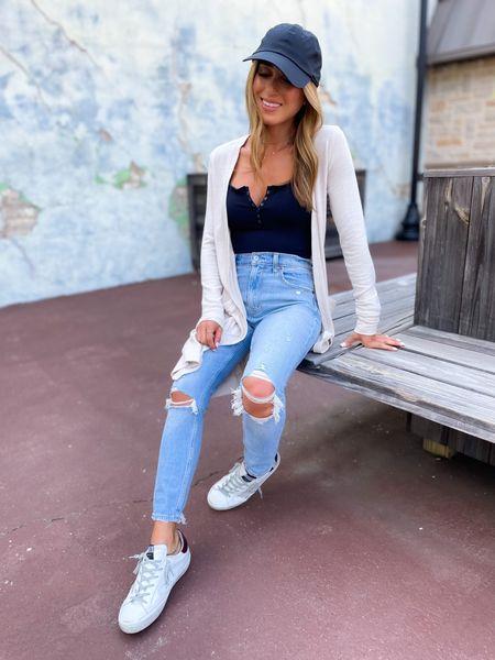 Jeans size 24 short, bodysuit size Xs, cardigan size Xs, use code afbelbel   #LTKsalealert #LTKunder100 #LTKunder50