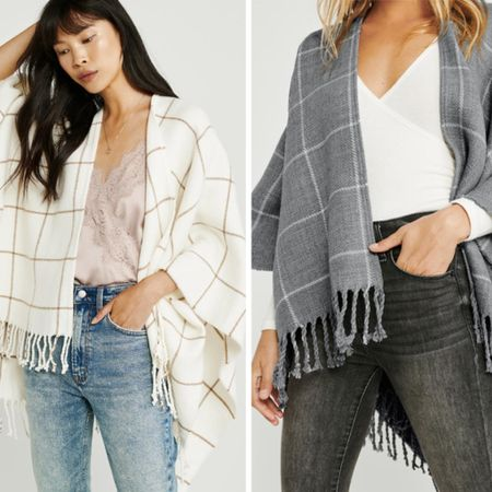"""This on trend, soft plaid poncho with fringe trim is on sale - and a great price!  It come in three colors.  I am sharing two of the colors - cream plaid and cool grey plaid, but it also come in a stunning black and white plaid.  This updated poncho look is the perfect layering piece for those cool fall days. http://liketk.it/2G5rW #liketkit @liketoknow.it  . . TO SHOP: Click the link in my profile or...  1. Download the free @liketoknow.itapp  2. Search for me @dailystylefinds  3. Click """"follow"""" and shop all the items in this outfit . . . #poncho #plaid #plaidponcho #abercrombie #sale #bestfalldeals #shopforless #fallponcho #fallstyle #popularstyle #virtualstylist #personalstylist #midwestblogger #style #styleblogger #classicstyle #layering #falltrends #ontrendstyle"""