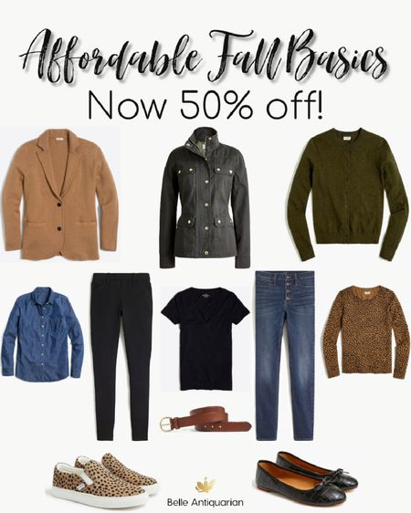 Affordable fall wardrobe basics! Mix and match these essential pieces for dozens of outfits. All pieces are currently 50% off.  #LTKunder100 #LTKstyletip #LTKsalealert