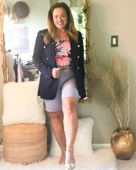 Stepping out in the perfect @sarahflint_ny block heel sandal in Napa Gold. Use code BAJOYB for $50.00 off! If you have followed me for a while you know I love the combination of blazers and shorts. It instantly dresses them up. I linked similar fabulous items for you. . . . . . .  http://liketk.it/3enCs #LTKshoecrush #LTKcurves #LTKstyletip #liketkit @liketoknow.it.family @liketoknow.it Download the LIKEtoKNOW.it shopping app to shop this pic via screenshot
