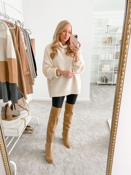 Saw a small available in this best selling cream free people sweater in the Nordstrom Anniversary Sale! Wearing with leggings and OTK boots     #LTKsalealert