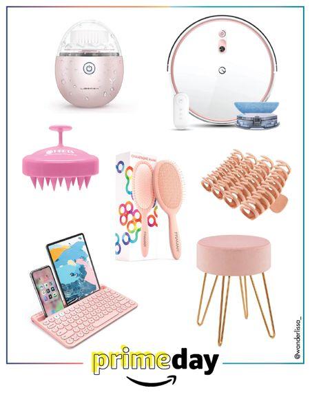 Prime Day Pretty in Pink finds!  #robotvacuum #hairclawclips #hairbrush #pinkstool #keyboard #scalp #facialbrush