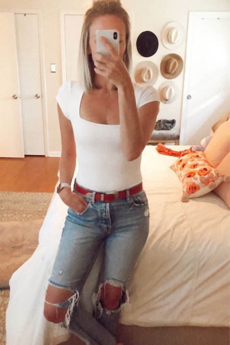 The best bodysuit is back and on sale! Free People Square Eyes Bodysuit marked down as far as $26, available in several colors. Long torsos size up. http://liketk.it/2MYmS @liketoknow.it #liketkit #LTKspring #LTKsalealert #LTKunder50 square neck, white bodysuit, spring style, casual, white tee