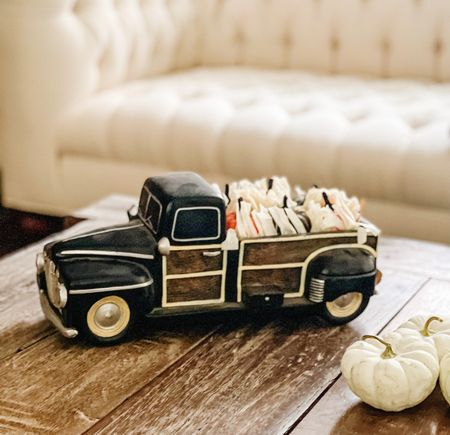 Cute fall decor. Farmhouse pickup truck with corn husks and pumpkins. Walmart finds. Walmart fall home decor. Living room furniture and decor. Horchow finds. Amazon pumpkin seeds. Upholstered button tufted sofa. Chesterfield upholstered sofa. Pottery Barn coffee table! Halloween decor. Thanksgiving decor. ❤️🎃  #LTKunder50 #LTKSeasonal #LTKhome
