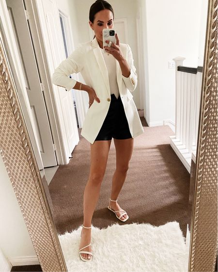 My white blazer and tank are on major sale! Size 0 in the blazer and 4 in the vegan leather shorts! XS in the tank. #summeroutfit   #LTKstyletip #LTKsalealert #LTKunder50