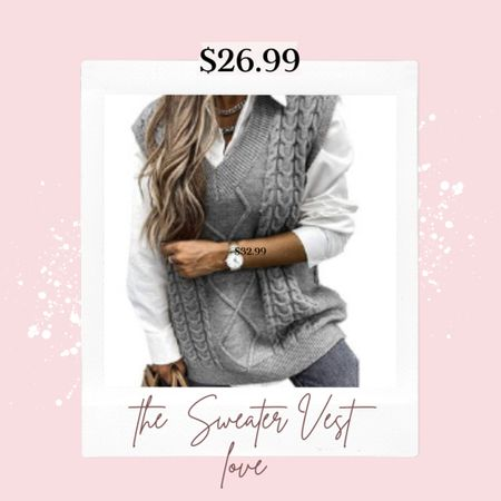 Trending… Sweater Vest loving🌸🌸🌸 . You'll love the size and fit of this vest perfect with leggings and skinny jeans! . . Order true too size  .   #LTKSeasonal #LTKunder50 #LTKstyletip