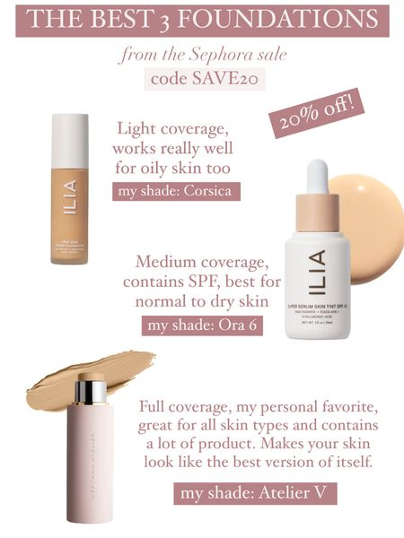 My favorite foundations that are all 20% off in the Sephora sale! Code is Save20!