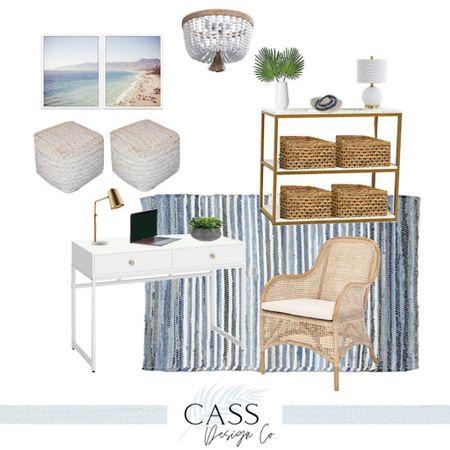 Coastal Office Decor / Amazon Home / Home Office / Work from Home / Coastal Home Decor / Coastal Interiors / Blue Decor / Amazon Finds /  http://liketk.it/3jCIO #liketkit @liketoknow.it