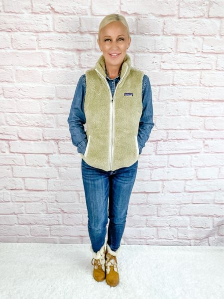 Fuzzy vest paired with a chambray shirt and Sherpa boots will keep you toasty warm this season!  Petite / over 40 / over 50   #LTKstyletip #LTKshoecrush #LTKSeasonal
