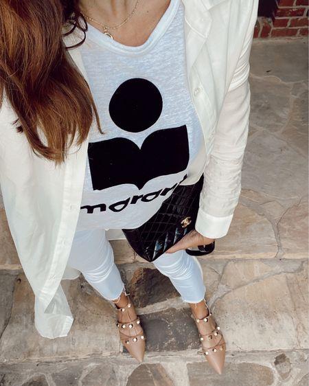 Isabel marant tee and white jeans $32 flats!! @liketoknow.it #liketkit http://liketk.it/3hM0l #LTKshoecrush #LTKsalealert #LTKunder50