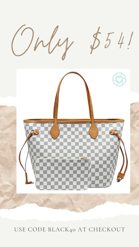 Use code BLACK40 to score this bag for just $54! Gifts for her, gifts for mom, gifts for sister, neverfull dupe, neverfull inspired, lv dupe, lv inspired bags   #LTKgiftspo #LTKitbag #LTKsalealert