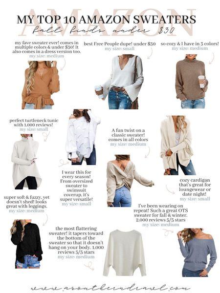 My fave Amazon sweaters for fall, under $35   #LTKstyletip #LTKSeasonal #LTKunder50