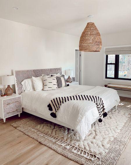 Master bedroom pendant light 20% off  Linen bedding   #LTKhome #LTKsalealert