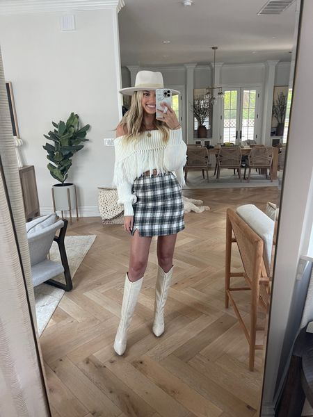 Fall look still in stock   Off the shoulder sweater / plaid skirt / knee high boots / suede hat / Champagne & Chanel   #LTKSeasonal #LTKstyletip #LTKunder100