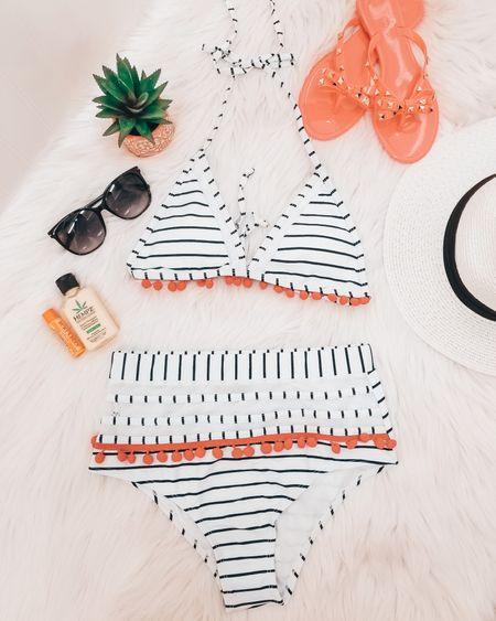 Amazon striped bikini / 2 piece / swimsuit / summer vacation / sunglasses / hot pink bow sandals / burt's bees mango lip balm / hempz lotion sweet pineapple & honey melon herbal body moisturizer / straw hat Panama fedoras beach sun hat http://liketk.it/2QmTL @liketoknow.it #liketkit #LTKsalealert #LTKstyletip #LTKunder50 #LTKcurves #LTKbeauty #LTKshoecrush #LTKswim