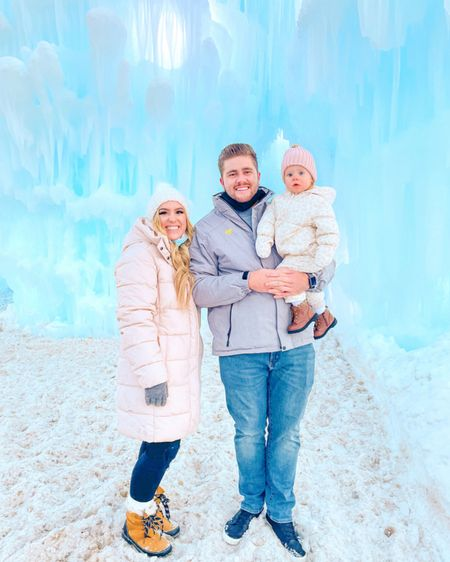 """Tonight we went to the Ice Castles in Midway & it was absolutely magical ✨ it felt like we were walking through Elsa's castle & I wanted to burst out in song """"Let It Go""""! 😂 it was so fun to see how mesmerized Rowan was while she was bundled in her little snow suit. This has always been one of our favorite winter activities!! ❄️❄️What do you love to do with your family in the winter?? I need some ideas!⬇️⬇️  Shop my coat & Rowans snowsuit here: http://liketk.it/35KNn #liketkit @liketoknow.it #LTKfamily #LTKkids #LTKunder50"""