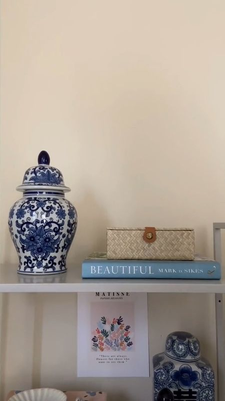 How to decorate with ginger jars! Grandmillennial style   home decor   interiors   decorating ideas   shelf decor   grandmillennial   blue and white decor   #LTKhome #LTKunder100