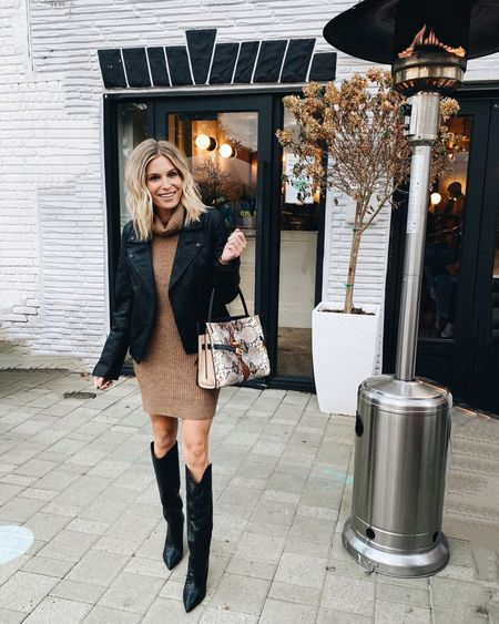 Sweater dress with the most fun boots I own! Pair with a faux leather jacket for dinner with the girls ✔️  #LTKSeasonal #LTKunder100 #LTKstyletip