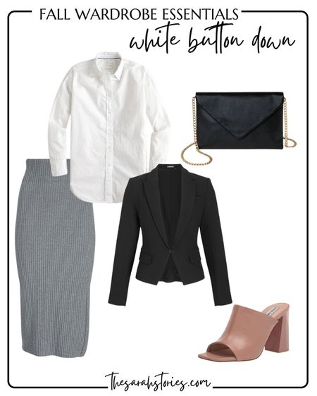 FALL ESSENTIALS : CLASSIC WHITE BUTTON SHIRT  // Fall outfit idea, Fall transition outfit, workwear, classy style, chic outfit idea, date night outfit   #LTKunder100 #LTKstyletip