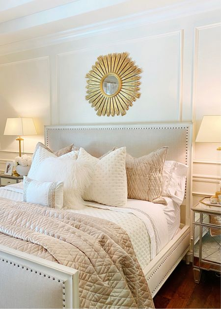 """Luxurious neutral bedding to dress your bed for fall. My bed is a king. I have 3 euros across the back with 24"""" inserts. The sheets are so luxurious and the ivory and champagne velvet quilts add opulence to your bed!   #LTKSeasonal #LTKhome #LTKsalealert"""