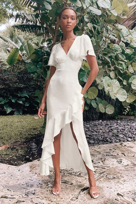 White satin maxi with ruffles! Perfect for an engagement photo session or bachelorette trip   #LTKwedding    #LTKunder100 #LTKwedding