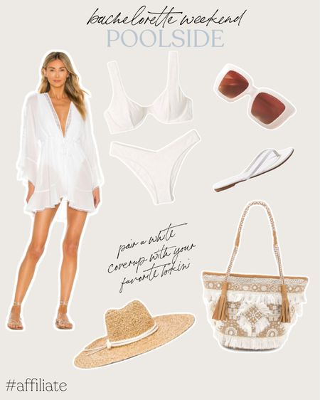 A poolside bachelorette occasion calls for sandals, a white bikini, a beach tote, sunglasses, and a white coverup dress! Don't forget the straw hat. http://liketk.it/3igYh @liketoknow.it #liketkit