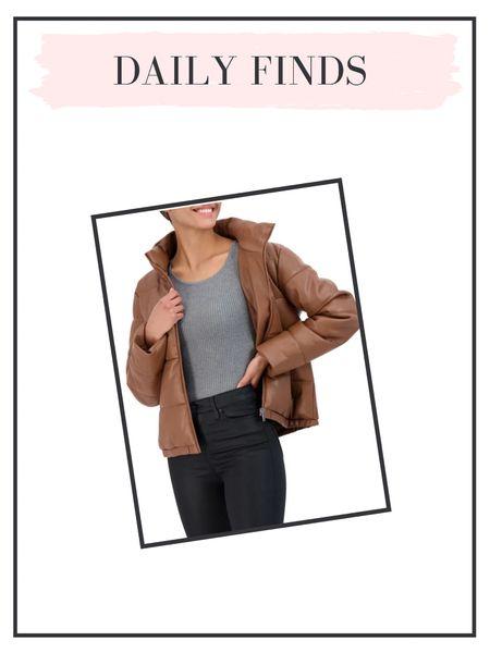 Daily finds: leather puffer coat   #LTKunder50 #LTKSeasonal #LTKunder100