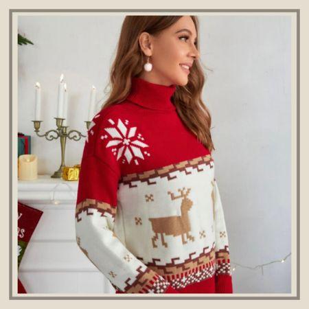 Christmas pattern high neck holiday sweater from Shein   #LTKstyletip #LTKHoliday #LTKunder50