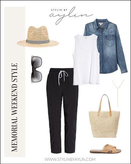 #StylinByAylin Memorial weekend outfit, black pants, joggers, white tank top, denim shirt, loungewear, straw hat, sandals, Stylin by Aylin . #LTKshoecrush #LTKunder50 #LTKsalealert #liketkit @liketoknow.it http://liketk.it/2P2QA