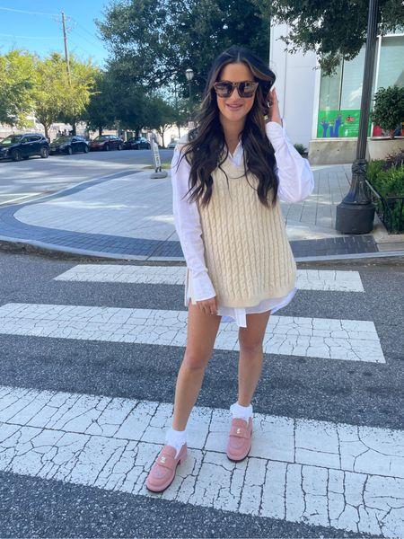 Sweater vest button down loafers lace socks amazon sunglasses   #LTKstyletip #LTKunder50 #LTKunder100