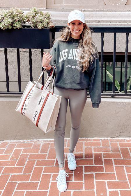 Graphic sweatshirt, leggings, alo, sneakers, athleisure, activewear, tote, Chloe   #LTKshoecrush #LTKfit #LTKitbag