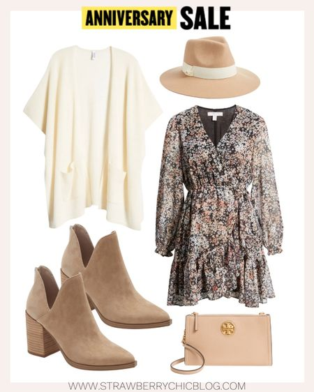 Floral long sleeve dress paired with neutral booties and Tory Burch crossbody.   #LTKshoecrush #LTKstyletip #LTKSeasonal