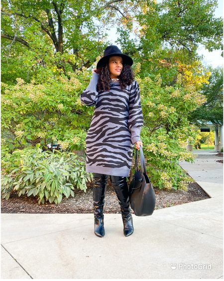 Sweater dress weather in full effect! I love when I find  a cute sweater dress even better then it's under $20 . I decided to add over the knew books and a floppy hat and there you have it a fresh fall look. I have linked this dress and other affordable options .  #ootd #sundaybest #fallfashion #walmartfashion #walmartfind #sweaterdress #lookforless #fashionover40 #fashionblogger #bargainshopper #midsizeblogger #indianablogger  #LTKcurves #LTKfit #LTKunder50