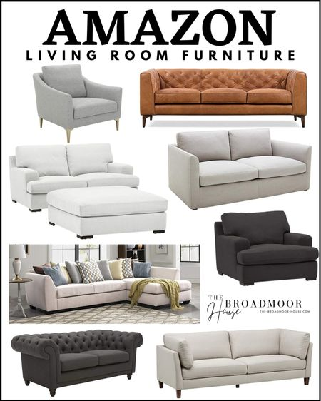 Amazon Home, Amazon Finds, Amazon furniture, living room furniture, sofa, couch, ottoman, tufted couch, Cognac leather, gray furniture, white furniture, gray couch, gray sofa, sectional, mid century modern, modern furniture, loveseat,  #LTKhome #LTKstyletip #LTKsalealert