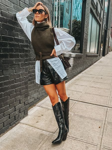 The perfect fall combo! Leather, knitwear and cowboy boots!   #LTKunder100 #LTKunder50 #LTKsalealert