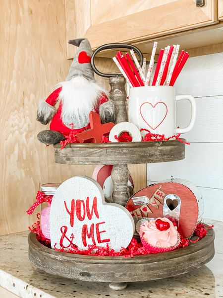 Tiered trays are a great way to display Valentine's Day decor ❤️   #LTKstyletip #LTKhome #LTKVDay
