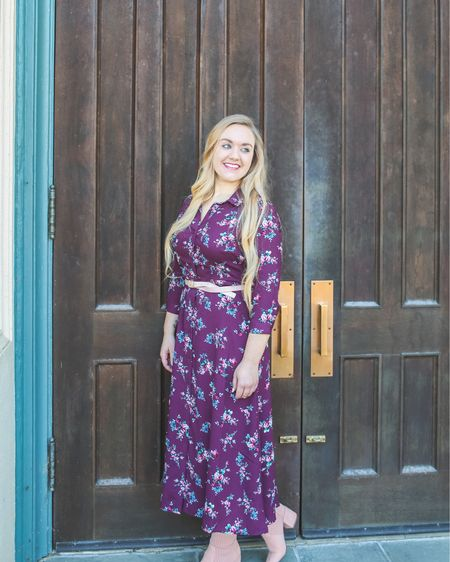 Florals & Maxis! 🌸👗 Combine the 2 for an elegant look under $19. This button-down dress is great for a Winter wedding, baby shower, date night or even the office. Comes in a few other colors.   OTHER WAYS TO WEAR: Add a long peacoat and a chic, solid boot OR pair with an open front, duster cardigan and buckle a belt around it for some added layers. Transition into Spring by adding a neutral brim hat and tie a solid neckerchief around and under the collar!✨ ____________________________________  You can instantly shop this look or get specific outfit details by following me on the free LIKEtoKNOW.it app! Link also in bio!  http://liketk.it/2zCJL @liketoknow.it #liketkit #LTKunder50 #LTKunder100 #LTKshoecrush #LTKsalealert #LTKstyletip